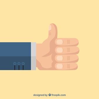 Achtergrond van duim omhoog in plat design