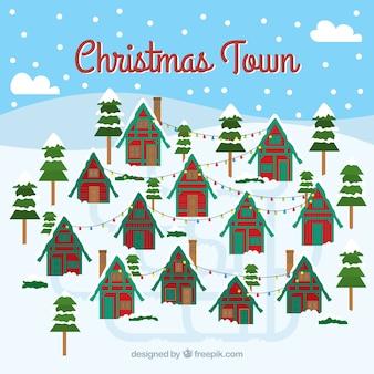 Achtergrond van een kerststad met veel vergelijkbare huizen
