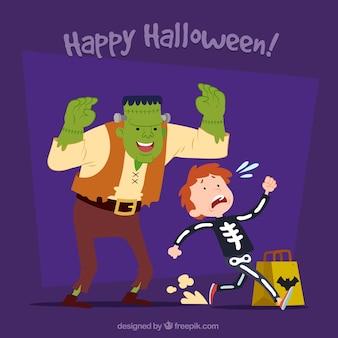Achtergrond van een monster dat een kind in halloween schrik maakt