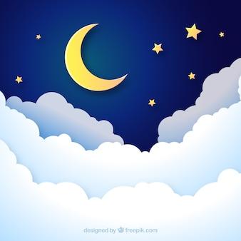 Achtergrond van een nachtelijke hemel in papieren stijl