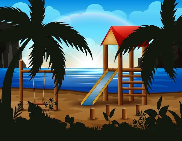Achtergrond van een speeltuin op het strand Premium Vector