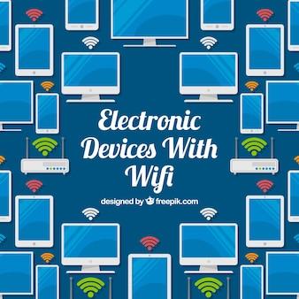 Achtergrond van elektronische apparaten met wifi in plat ontwerp