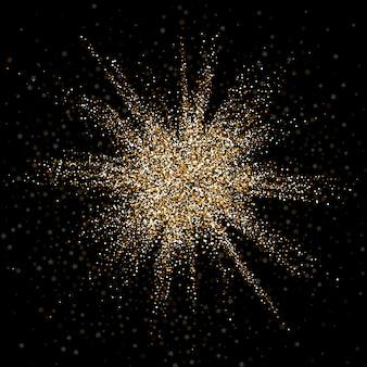 Achtergrond van exploderende goud glittery confetti