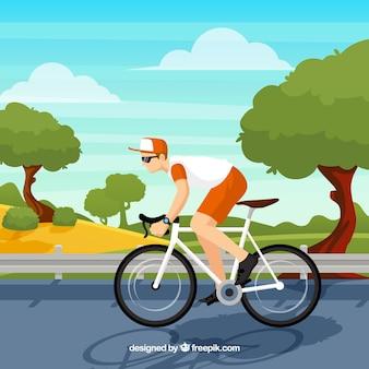 Achtergrond van fietser in een landschap