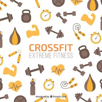 Achtergrond van fitness elementen in vlakke bouwvorm