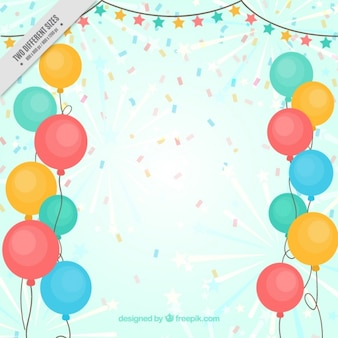 Achtergrond van gekleurde ballonnen en confetti