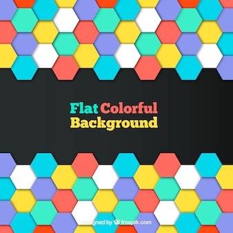 Achtergrond van gekleurde zeshoeken in plat ontwerp