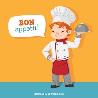 Achtergrond van gelukkig chef-kok karakter