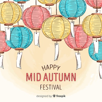 Achtergrond van gelukkig medio herfst festival