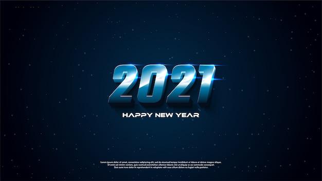 Achtergrond van gelukkig nieuw jaar 3d met nuances van technologie en sport.