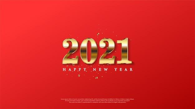 Achtergrond van gelukkig nieuw jaar met goud op een rode achtergrond.