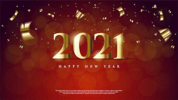Achtergrond van gelukkig nieuw jaar met goudkleurig op een donkerrode achtergrond.