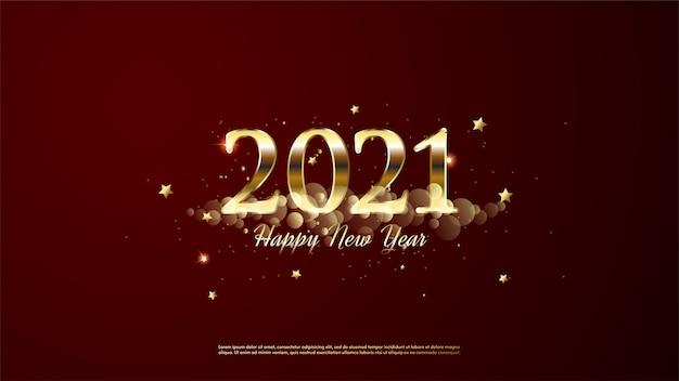 Achtergrond van gelukkig nieuwjaar gouden kleur met gouden wolken en gouden sterren.