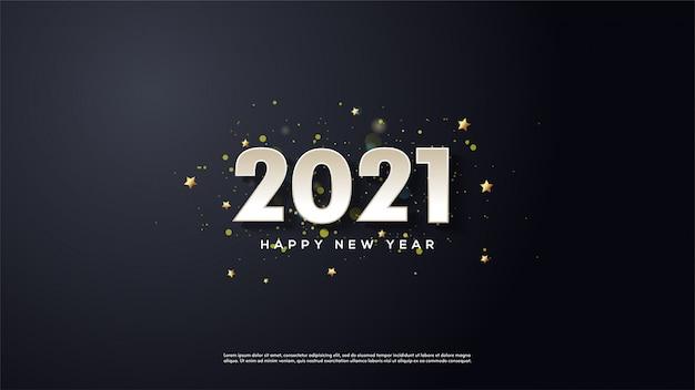 Achtergrond van gelukkig nieuwjaar in wit op een zwarte achtergrond.