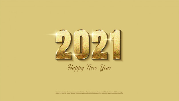 Achtergrond van gelukkig nieuwjaar met elegante gouden glitter.