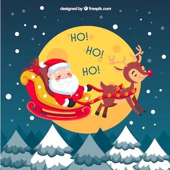 Achtergrond van gelukkige kerstman met rendier
