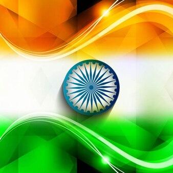 Achtergrond van golvende glanzende indiase vlag