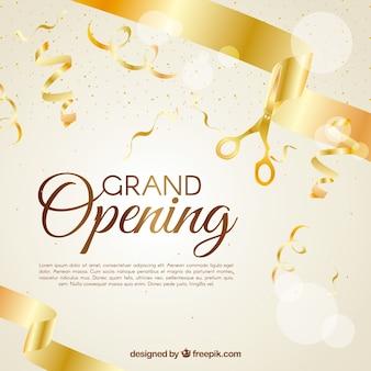 Achtergrond van gouden confetti viering en linten