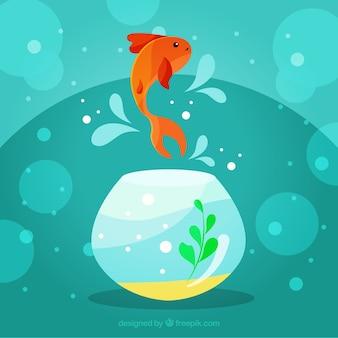 Achtergrond van goudvis die uit fishbowl springt