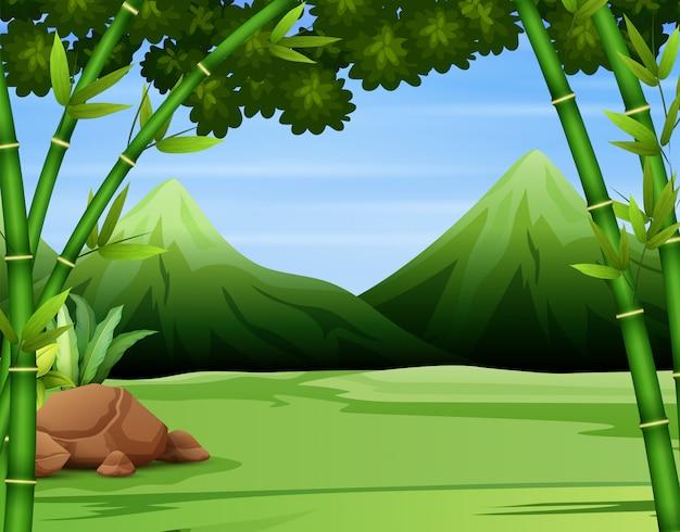 Achtergrond van groene berg boslandschap