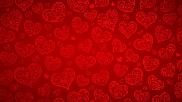 Achtergrond van grote en kleine harten met ornament van krullen, bloemen en bladeren, in rode kleuren