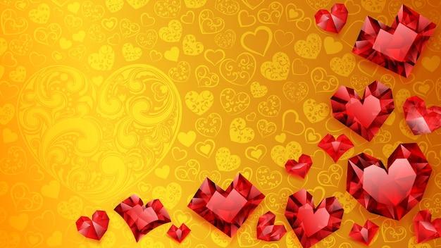 Achtergrond van grote, kleine en verschillende kristallen harten, rood op geel. illustratie op valentijnsdag
