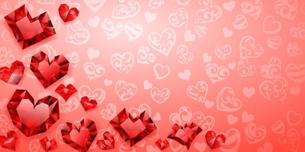 Achtergrond van grote, kleine en verschillende kristallen harten, rood op roze. illustratie op valentijnsdag