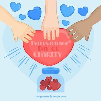 Achtergrond van handen die een met de hand getrokken hart aanraken