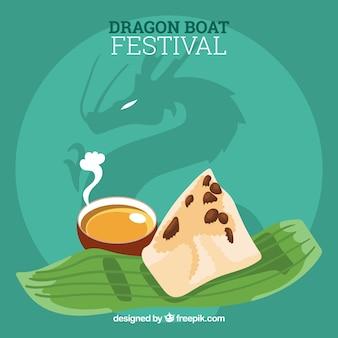 Achtergrond van heerlijk eten van de drakenbootfeest