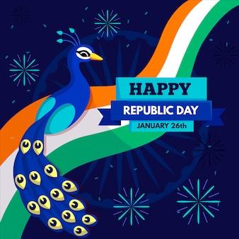 Achtergrond van het de dag de vlakke ontwerp van de indische republiek met pauw
