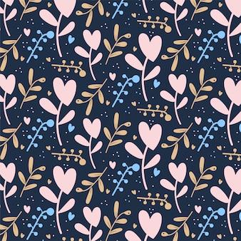 Achtergrond van het de dagpatroon van de leuke romantische bloemenharten de valentijnskaart