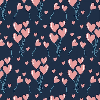 Achtergrond van het de dagpatroon van de leuke romantische hartenvalentijnskaart