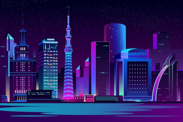 Achtergrond van het de stads de futuristische landschap van de nacht