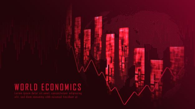 Achtergrond van het financiële crisis de grafische concept
