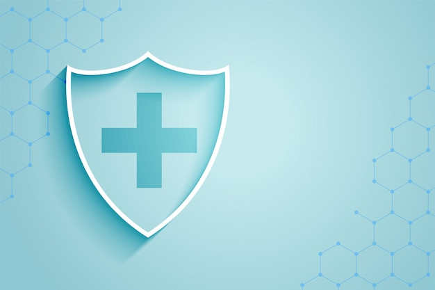 Achtergrond van het gezondheidszorg de medische schild met tekstruimte