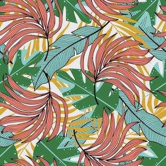 Achtergrond van het het blad de naadloze vector bloemenpatroon van de wildernis. tropische botanisch.