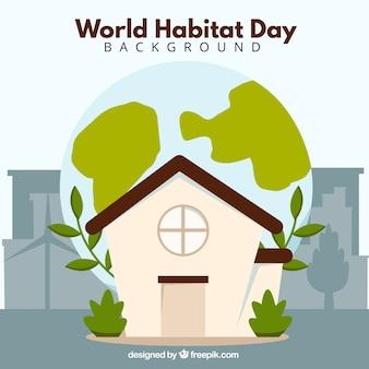 Achtergrond van het huis met vegetatie voor de wereld van de habitat dag
