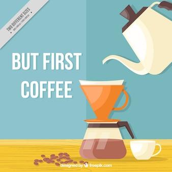 Achtergrond van het koffiezetapparaat in plat design