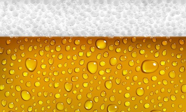 Achtergrond van het oppervlak van een glas bier met schuim en druppels