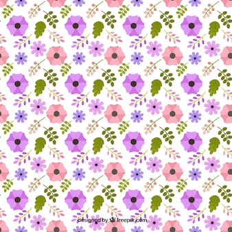 Achtergrond van het patroon met paarse en roze bloemen