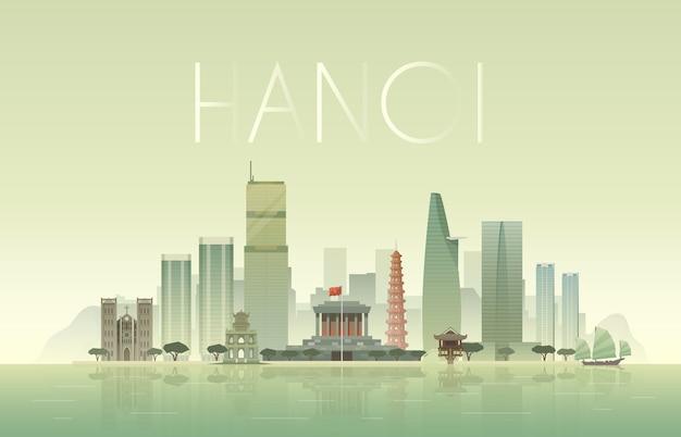 Achtergrond van het stedelijke landschap van hanoi