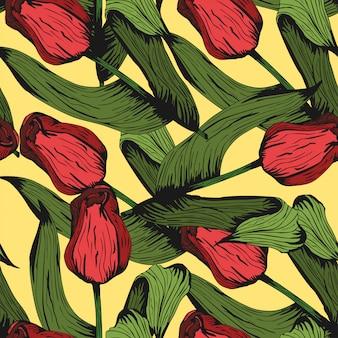 Achtergrond van het tulpen de kleurrijke hand getrokken patroon