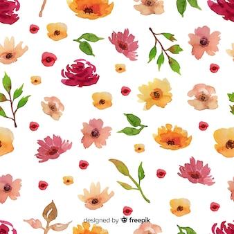 Achtergrond van het waterverf de bloemen naadloze patroon