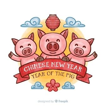 Achtergrond van het waterverf de chinese nieuwe jaar
