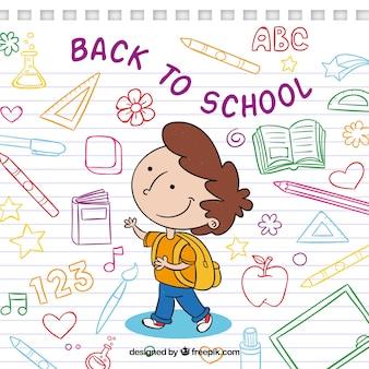 Achtergrond van jongen met tekeningen van school