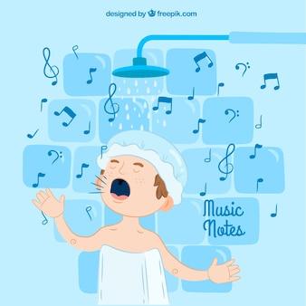 Achtergrond van jongen zingen in de douche