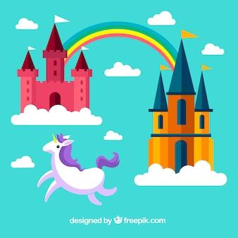Achtergrond van kastelen in plat ontwerp met regenboog en eenhoorn