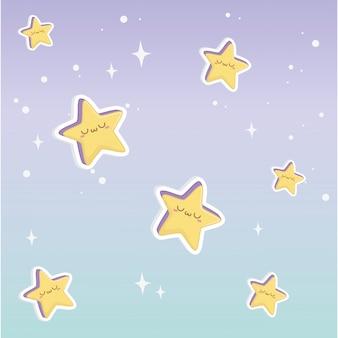 Achtergrond van kawaii-tekenfilms