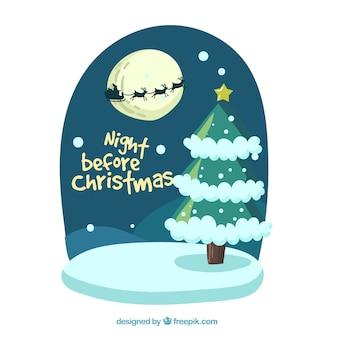 Achtergrond van kerstboom en kerstman op slee