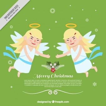 Achtergrond van kerstmis gelukkige engelen